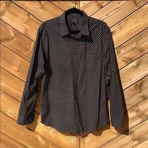 Banana Republic Men's Black Printed Dress Shirt
